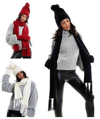 Womens Ladies Wooly Thick Knitted Hat Scarf and gloves & Mittens Set Woolen