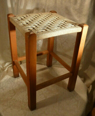 "Vintage Stool Rope Weave Woven String Seat Beech Wood 17.5"" Tall Furniture"