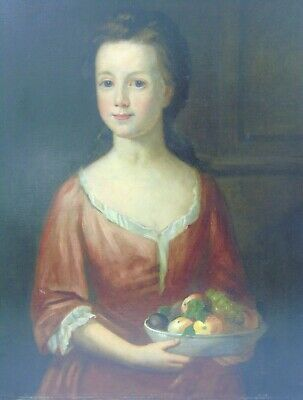 Early 18th Century Oil on Canvas Portrait of Girl