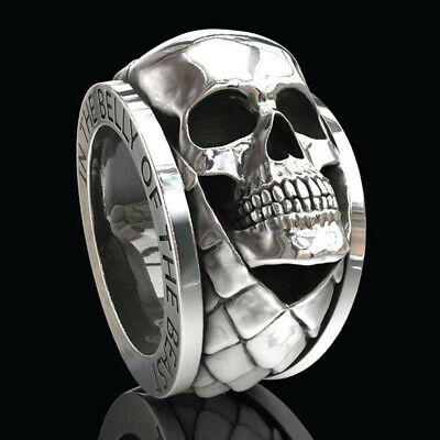 Hip Hop Men's Stainless Steel Skull Punk Gothic Rings Engagement Jewelry Gift