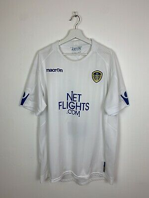 Leeds United 2010-2011 Home Shirt Kit Top Jersey White Macron XXL 2XL 2X Men's