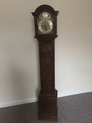 Grandmother clock, Enfield 1930s, Westminster chime oak case, Working