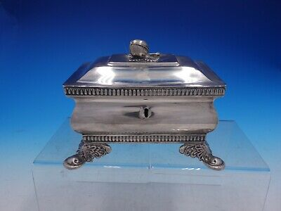 Vintage Polish 700 Silver Footed Jewelry Box with Walnut Finial (#4271)