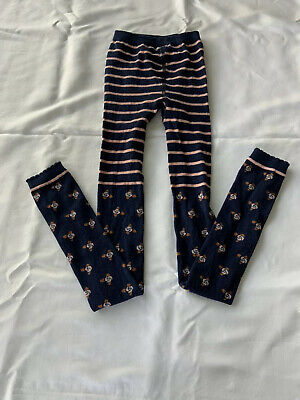 NWOT Hanna Andersson Girls Footless Ankle Tights 150/160 12/14 Navy Pink Flowers
