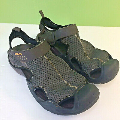 Crocs Mens 13 Swiftwater Mesh Sandals 15041 Brown EUC
