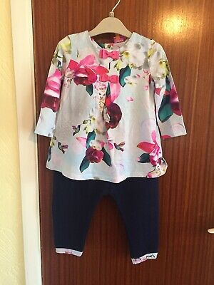 STUNNING GENUINE TED BAKER BABY GIRLS TWO PIECE OUTFIT AGED 12-18m
