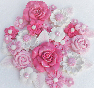 Edible baby pink christening cake toppers decorations. Baby pink cake flowers.