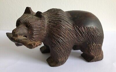 Antique - Black Forest? Hand carved wooden bear with fish