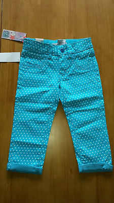 GIRLS CROPPED TROUSERS JEANS TURQUOISE POLKA DOT age : 4  YEARS BNWT