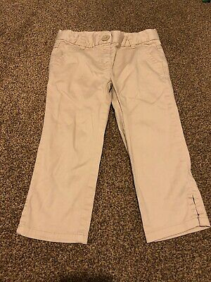 Next beige smart cropped cargo trousers girls age 5-6 years