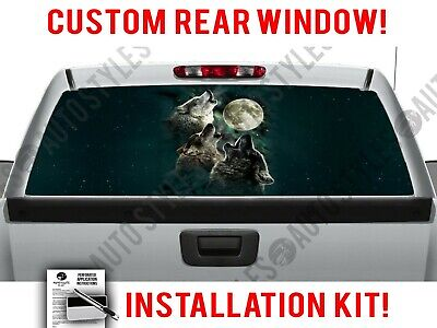 Wolves Howling at the Moon Wolf Pack Night Sky Star Perforated Window Vinyl Wrap