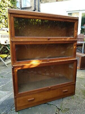 Antique Globe Wernicke Elastic Barrister Library Bookcase 3 Section Display KENT
