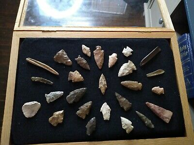 Authentic Oklahoma Ancient Arrowheads Artifact Collection Lot of Personal Finds