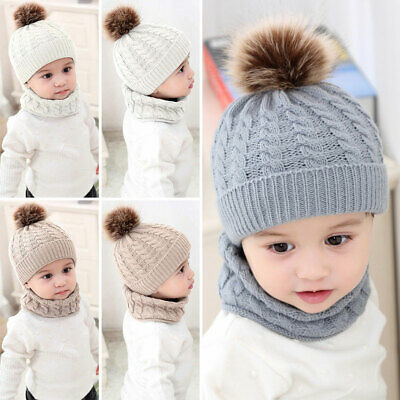 Unisex Baby Toddler Kids Hat Cap Scarf Set Winter Warm Knitted Fur Bobble Solid