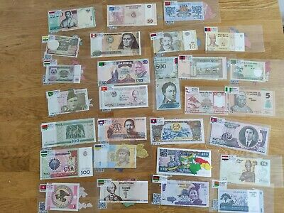 52 X World Banknotes 28 countries. Collectable job Lot.All Different. Unc Set .