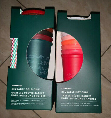 Starbucks 2019 Holiday Christmas Reusable Cold & Hot Cups W/Straws NEW! 11 Cups!