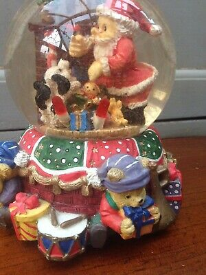 Vintage Beautiful Christmas Teddy Bears Snow globe Large