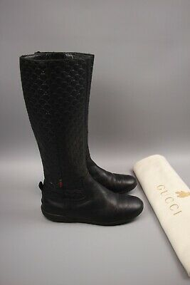 Authentic Gucci Kids Girls Black leather monogram Boot Size 31