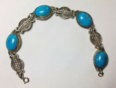 Antique Art Deco Filigree Sterling Silver Turquoise Cabochon Bracelet Chinese