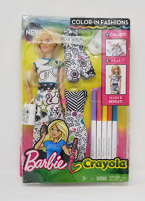 Barbie Crayola - Color In Fashions Blonde Doll Set (lightly damaged box)- NEW