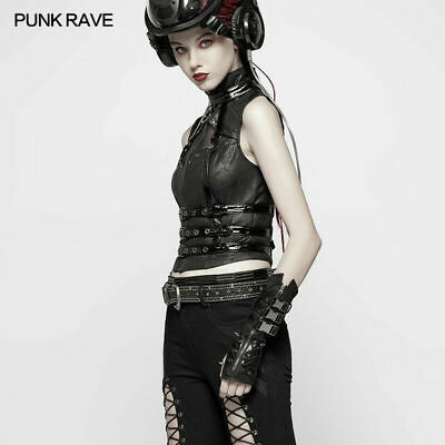 Gothic Motocycle Gloves Cosplay Steampunk Metal rivets bandage Fingerless Gloves