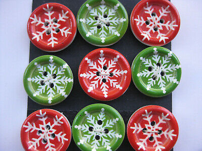 20mm Christmas Snowflake  Red Green White Sewing Buttons Set 9 scrapbook