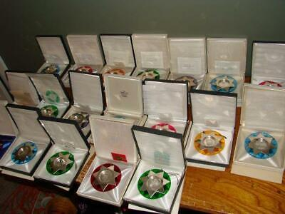 Lot of 17 Franklin Mint Sterling Silver Christmas Ornaments 1971-1989 NICE
