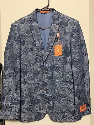 New Tallia Blazer Sport Coat 36 S Paisley Blue Denim Mens Mason Slim Fit Floral