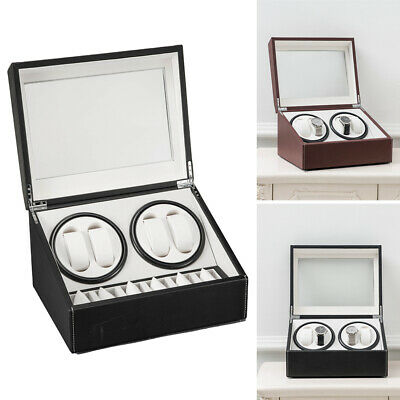 4+6 Automatic Rotation Leather Wood Watch Winder Storage Display Box Watch Case