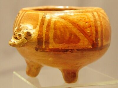 Ancient Pre Columbian Narino FOOTED ANTHROPOMORPHIC BOWL Pot
