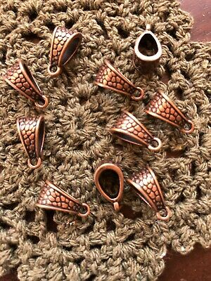 Red Copper Triangular Pendant Charm Bail 12 pack 7 mm wide 13 mm 6 mm hole