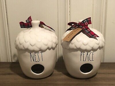 Rae Dunn Christmas By Magenta Ceramic Acorn NEST, PEACE Birdhouse, Set of 2