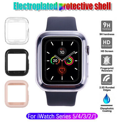 HD Tempered Glass Screen Protector TPU Plating Protective Case For Apple Watch