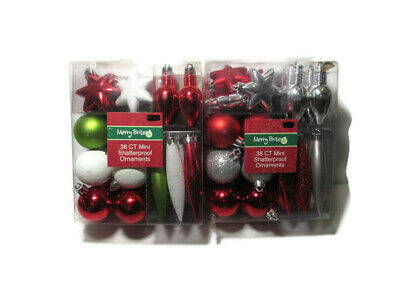 Christmas Ornaments Merry Brite Shatterproof 2 Clear Boxes - 76 Ornaments