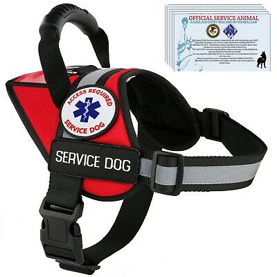 Service Dog Harness Reflective Vest Waterproof - No Pull Handle - Patches Pocket