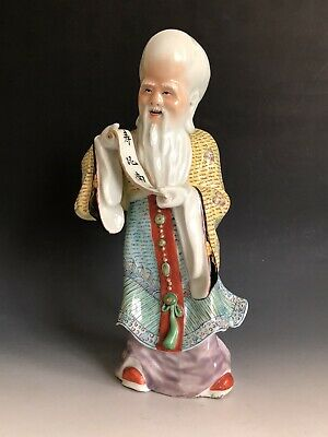 """Antique Chinese Famille Rose Porcelain Statue Figurine Shoulo Signed """" 曹協興造"""""""