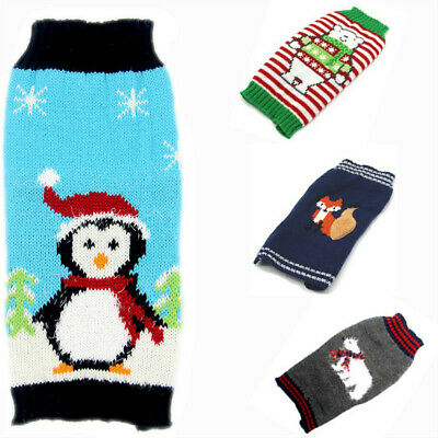 Christmas Cat knitted Dog Sweater Chihuahua Yorkies Puppy Jacket Pet Clothing