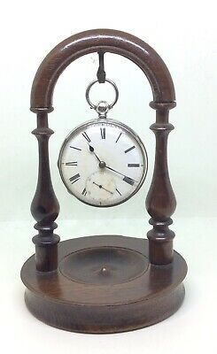 Superb Antique Victorian Solid Oak Pocket Watch Fob Display Case Stand Only