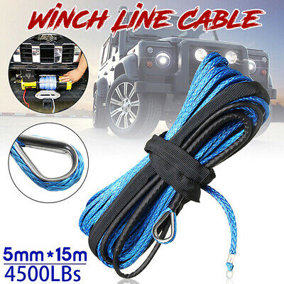3/16'' x 50' 4500LBs Synthetic Winch Line Cable Rope With Sheath ATV UTV Blue RR