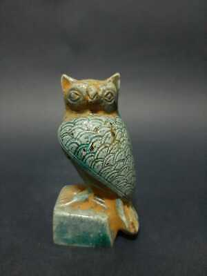 RARE ANCIENT EGYPTIAN Eagle Owl Blue Glazed statue BC