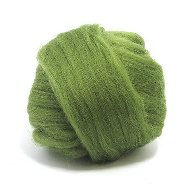 100g DYED MERINO WOOL TOP OLIVE GREEN DREADS 64's SPINNING FELTING ROVING
