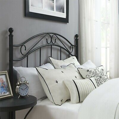 Vintage Metal Scroll Headboard Black White Fits Full or Queen Bed Guest Room 60W