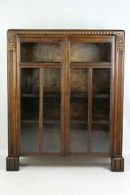 Vintage Art Deco Oak Bookcase - 1940s Display Cabinet Cupboard Bookshelf Bureau