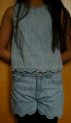Next Denim Summer girls Outfit Shorts & Top Age 9
