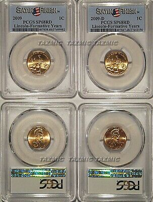 2009 P & D Lincoln Formative Years 1c Cent 2 Coin Set PCGS SP68RD Satin Finish