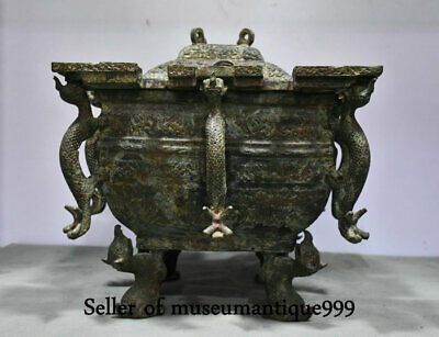Old China Ancient Dynasty Bronze Ware Dragon Beast Pot Crock Vessel container