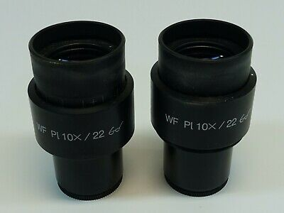 Pair of Zeiss WF Pl 10X/22 Microscope Eyepiece; Excellent Condition