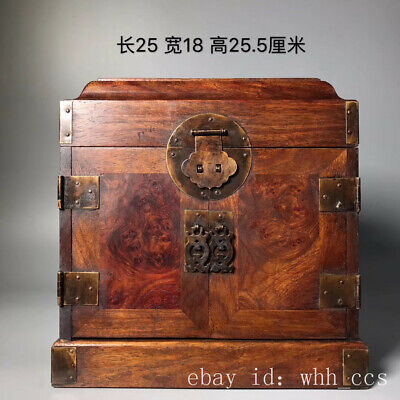 "13"" China antique flower Pear wood Full grimace pattern officer Leather suitcase"