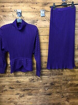 Vintage 2 Piece Purple Shirt & Skirt By Medici Made In Italy