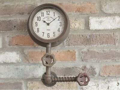 Industrial Wall Clock Retro Pipe Vintage Style Steampunk Timepiece
